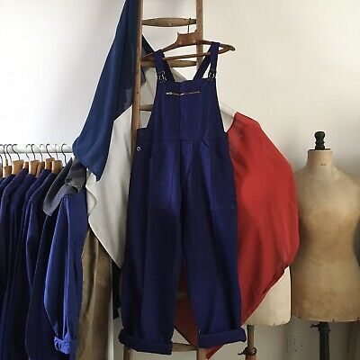 Vintage French 1950s/60s La Fileuse Cotton Chore Workwear Dungarees XS S M