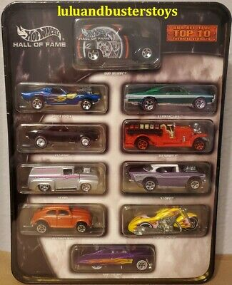 New 2003 HOT WHEELS HALL OF FAME OUR ALL TIME TOP 10 FAVORITE VEHICLES METAL TIN