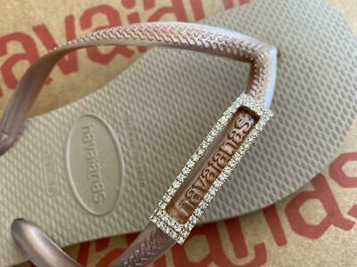 Original HAVAIANAS Flip Flops Women Slim with Two Crystal and Personalized Charm