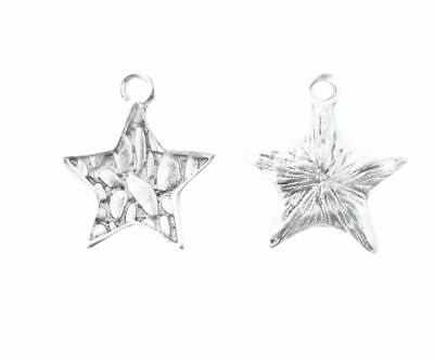 SC2912 15 Solid Star Antique Silver Tone Charms 2 Sided