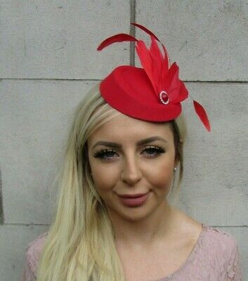 Red Silver Feather Pillbox Hat Hair Fascinator Races Wedding Vintage Style 0656
