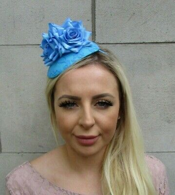Turquoise Lagoon Blue Rose Flower Teardrop Fascinator Hat Headband Hairband 0658