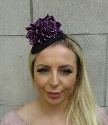 Dark Purple Rose Flower Teardrop Fascinator Hat Headband Hairband Floral 0660