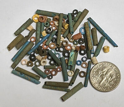 More than a Hundred 2500 Year old Ancient Egyptian Faience Mummy Beads (#M892)