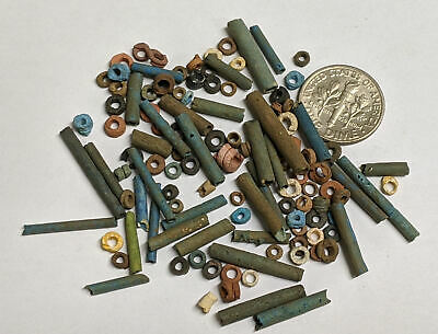 More than a Hundred 2500 Year old Ancient Egyptian Faience Mummy Beads (#M894)