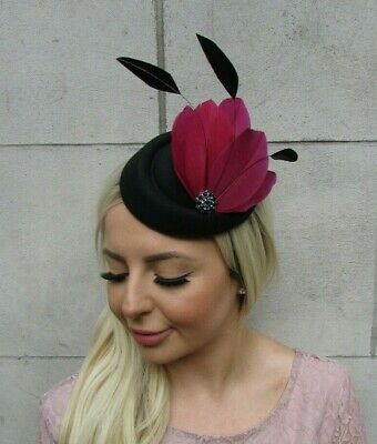 Black Burgundy Wine Red Feather Pillbox Hat Hair Clip Fascinator Wedding 0664