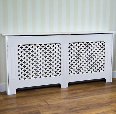 Three Posts Buggs Large Radiator Cover, White 80cm H x 152cm W x 19cm D