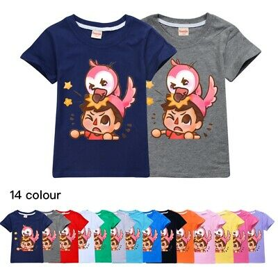 2021 Kids Flamingo Flim Flam T-Shirts Short Sleeve Crew Neck Cotton Casual Tops