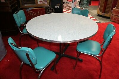1950s Round Formica Kitchen Table With 4 Chairs Vintage Furniture 900 00 Picclick