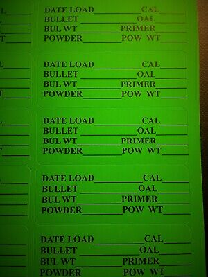 60 FLUORESCENT GREEN Reloading Data Labels Pistol or Rifle Ammo 30// page 2page