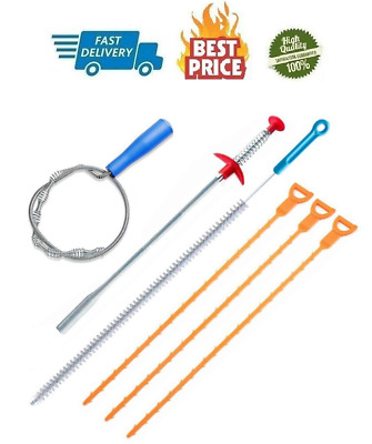 6 Pack Clog Remover Drain Relief Auger Cleaner Tool Sink Drain And Snake Overflo