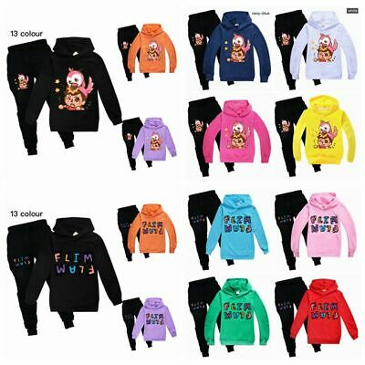 New Kids Flamingo Flim Flam Hooded Sweatshirt+Pants Trousers Boys Girls 2PCS Set