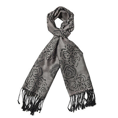 Grey Blooming Rose Pattern Fashion Scarf Wraps Women Accessories Polyester