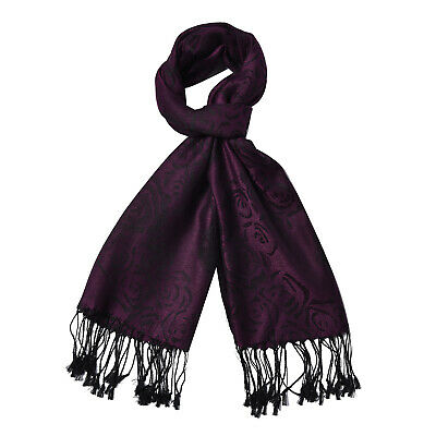 Plum Purple Blooming Rose Pattern Fashion Scarf Women Accessories Polyester