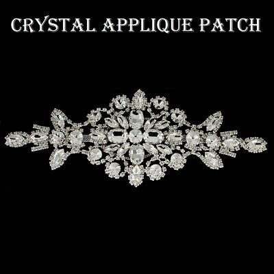 Sew sul Strass Cristallo Diamante//Diamante Abito da sposa MOTIVO APPLIQUE Patch