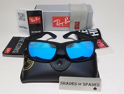 Ray-Ban Justin RB4165 622/55 54mm Matte Black Blue Mirror Polarized Sunglasses