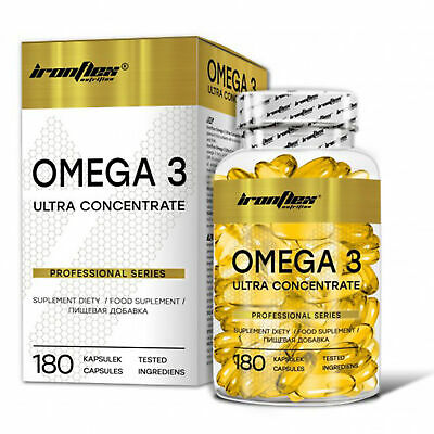 Iron Flex Omega 3 1000mg Fish Oil 180 capsules - Vitamin E EPA DHA Fatty Acids