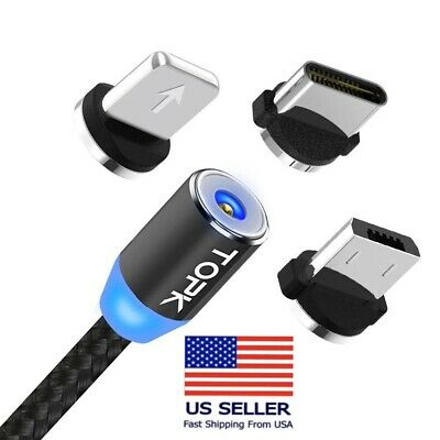 3 in1 TOPK Cable Type C/iOS/Micro USB Android Round Magnetic Charger USA Seller