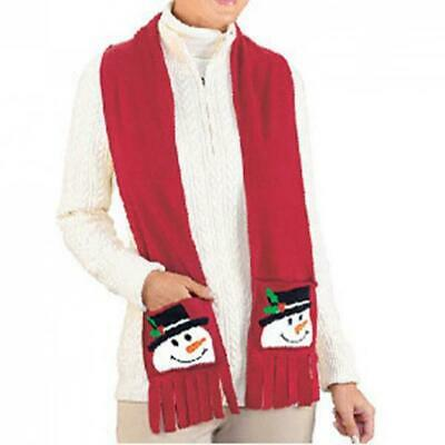 Snowman Scarf Gift Red Lint Christmas Style New Year Winter Wrap 160x15cm