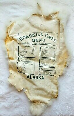 Roadkill Cafe Alaska White Rabbit  Pelt  Menu Alaska Souvenir Advertising