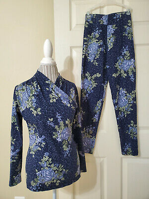 Laura Ashley Womens Floral Knit 2 Pc Set Long-Sleeve Top & Leggings Sz.4 Italy