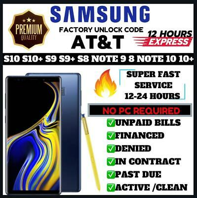 At&T Att Premium Factory Unlock Code For Samsung Galaxy S9 S9+ S10 Note 8 Note 9