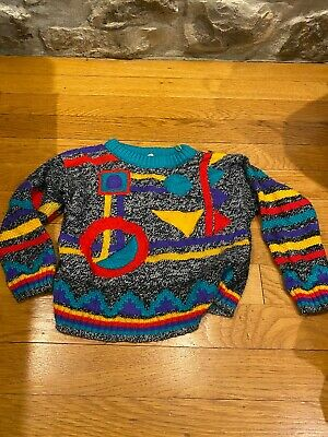 Vintage 80s Color Block Abstract Acrylic Sweater Bright Bold Geometric kids 18 m