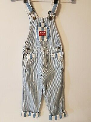 Vintage Red Label 4T OshKosh VESTBAK Striped Overalls Made USA  Very Nice