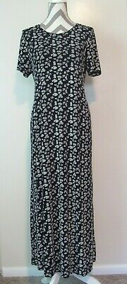 DUO MATERNITY Women 2427 Black/ White Floral Short Sleeve Maxi Stretch Dress M