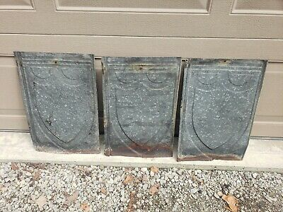 """Lot Of 3 Vintage Antique Roofing Tin Shingles ~ Shield Embossed 13"""" X 20"""" Approx"""