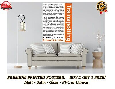 Choose Life Quote Trainspotting Movie Large Poster Art Print Gift A0 A1 A2 Maxi