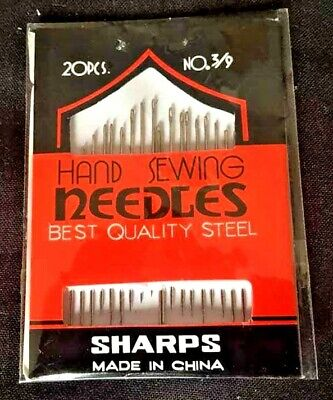 20 Household Hand Sewing Needles Assorted Sizes 3/9 Embroidery Wool Sharps New