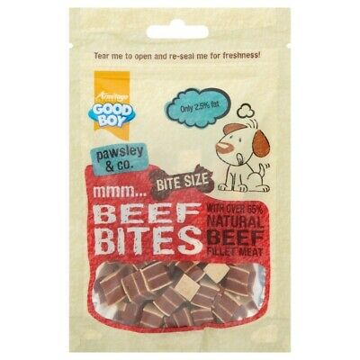 Good Boy Dog Pet Food Bite Size Beef Bites 65g Treat for Puppies & Smaller Dogs