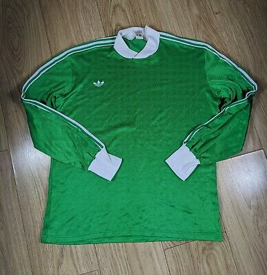 Vintage 70's/80's Adidas Made in Tunisia, Long Sleeved T-Shirt, Green, Large