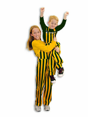 Youth Green & Yellow Striped Game Bib Overalls
