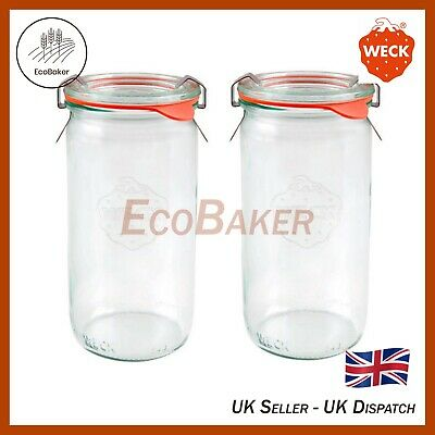 Kimchi WECK 782 1000ml Wide Mouthed Storage Jar Including Glass Lid Seal /& Clamps for Sourdough Canning Yoghurt Preserving Jam