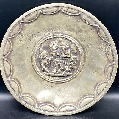 Ancient Persian hand beaten solid silver bowl with worshippers 235GR