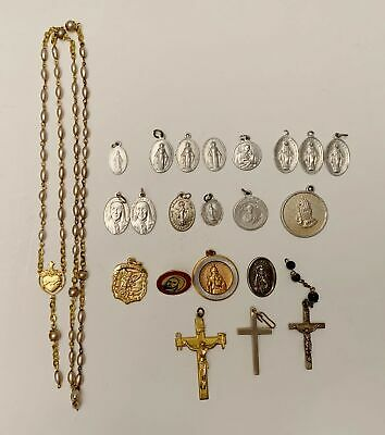 Vintage Miraculous Mary Medal and Crucifix Religious Pendant 22 Piece Lot