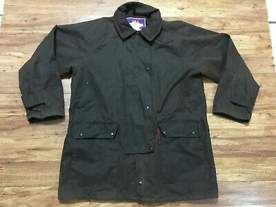 MENS MEDIUM - Vtg Australian Outfitters Hunting Oiled Coat Jacket Brown Made USA