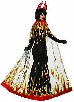 Demons & Devils Fire Flames Cape Womens Halloween Costume Accessory