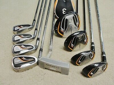 Maxfli Varsity 9-club Golf Club Set LH Driver Fairway Hybrid Irons Putter