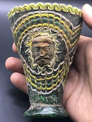 Rare Roman King Phoenician Colored Glass Cup With Gold Decorations Ca 100-20
