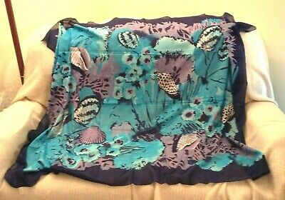 "Marshall Field's Cotton Scarf Wrap Large 60"" x 46"" Blue Seashells Undersea EUC"