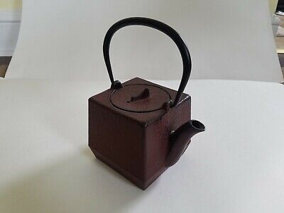 Japanese Cast Iron TETSUBIN Square Red Textured Tea Pot Kettle Signed W/strainer