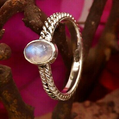 Rainbow Moonstone Ring 925 Sterling Silver Ring Dainty Handmade Woman Ring A39