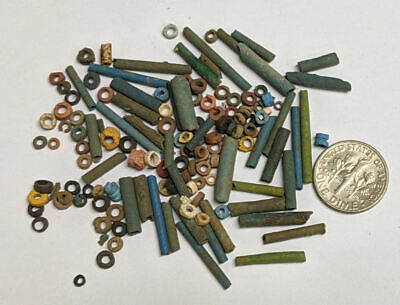 More than a Hundred 2500 Year old Ancient Egyptian Faience Mummy Beads (#M895)