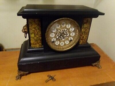 Antique Key Wine Welch Mantle Clock with clock face marked Sessions with key