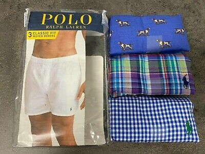 NEW Polo Ralph Lauren Mens M-XL Woven Boxers 3 Pack Blue Dogs Plaid Check Pony