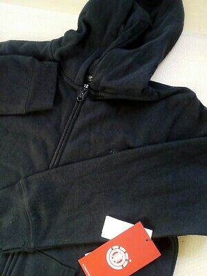 Boys ELEMENT Black Long Sleeve Zip Front Hoodie Age 12
