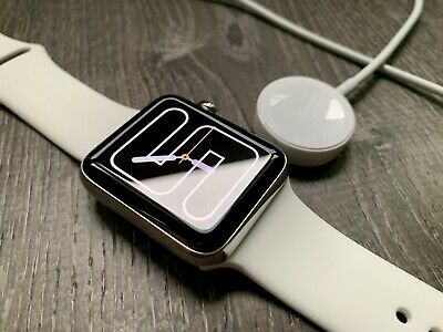 Apple Watch Series 3 Stainless Steel LTE 42mm Excellent w/ White Sport Band